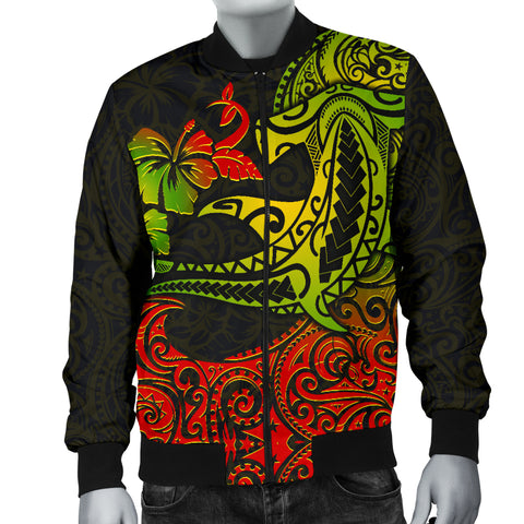 Hawaii Men's Bomber Jacket - Polynesian Hammerhead Shark