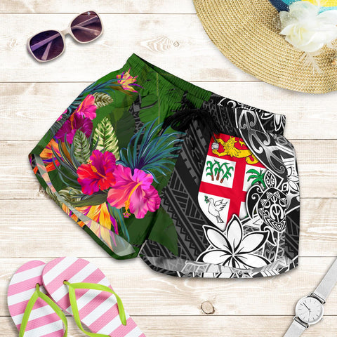 Image of Fiji Women Shorts - Turtle Plumeria Banana Leaf