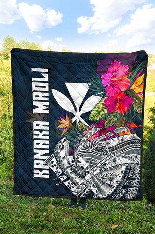 Hawaii Premium Quilt - Polynesian Hibiscus with Summer Vibes