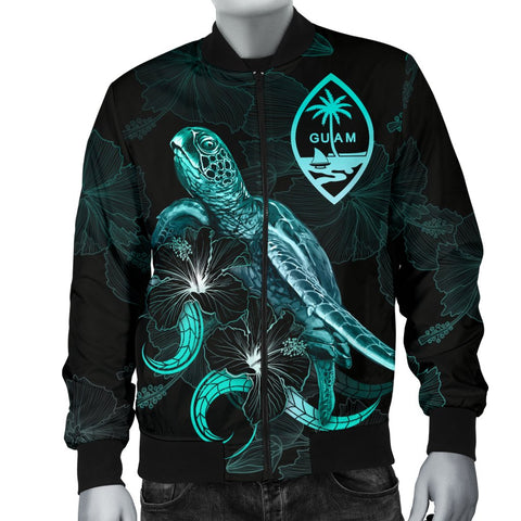 Guam Polynesian Men's Bomber Jacket - Turtle With Blooming Hibiscus Turquoise