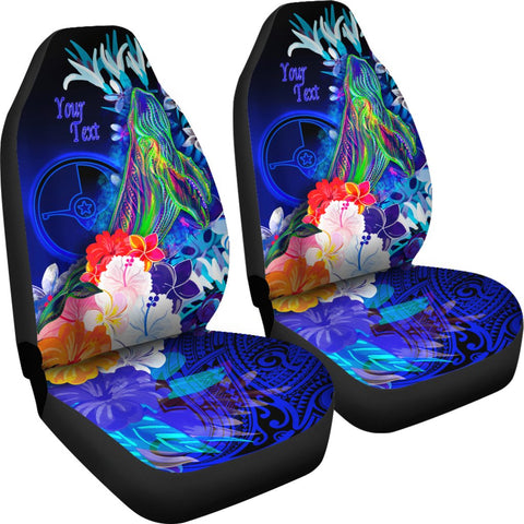 [Custom] Yap Car Seat Cover - Humpback Whale with Tropical Flowers (Blue)