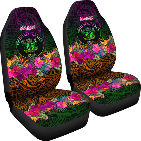 Niue Polynesian Personalised Car Seat Covers - Summer Hibiscus