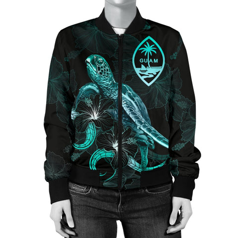 Image of Guam Polynesian Women's Bomber Jacket - Turtle With Blooming Hibiscus Turquoise