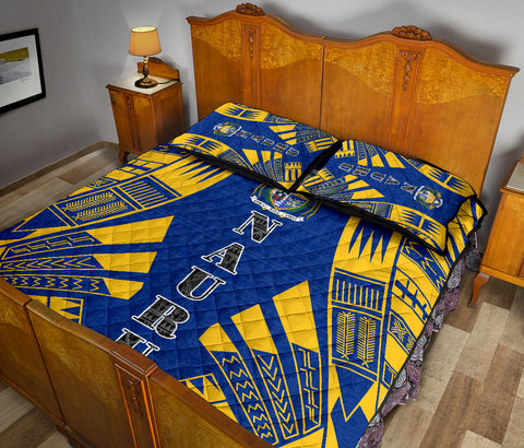 Nauru Polynesian Quilt Bed Set - Blue Tattoo Style - BN0112