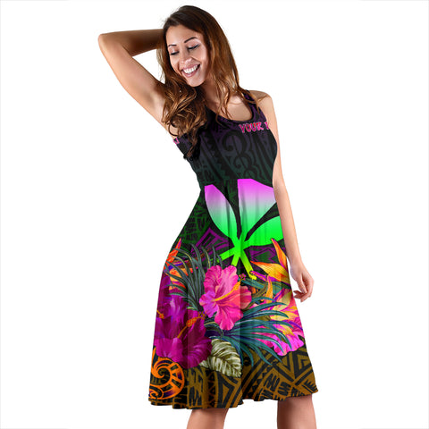 Polynesian Hawaii Personalised  Kanaka Maoli Women's Dress - Summer Hibiscus