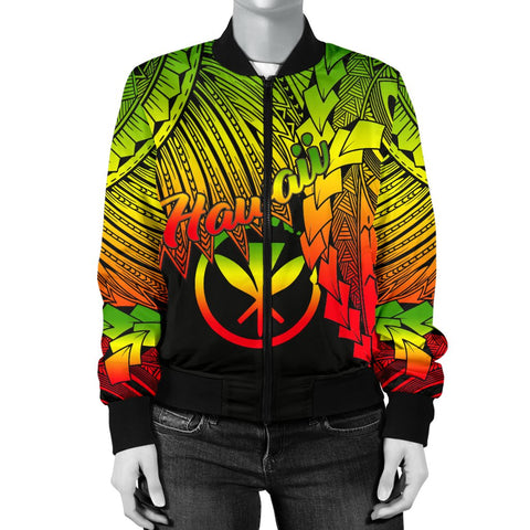 Polynesian Hawaii Women's Bomber Jacket - Tribal Wave Tattoo Reggae - BN12