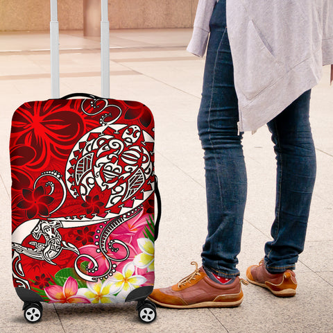 Polynesian Luggage Covers - Turtle Plumeria Red Color - BN18