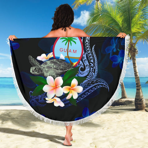 Image of Guam Polynesian Beach Blanket - Turtle With Plumeria Flowers - BN12