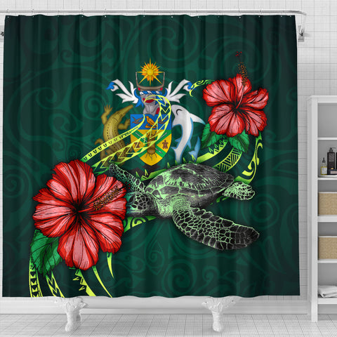 Solomon Islands Polynesian Shower Curtain - Green Turtle Hibiscus - BN12
