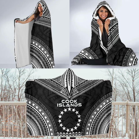 Cook Islands Polynesian Chief Hooded Blanket - Black Version - Bn10