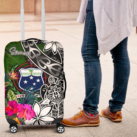 Image of Samoa Luggage Covers - Turtle Plumeria Banana Leaf