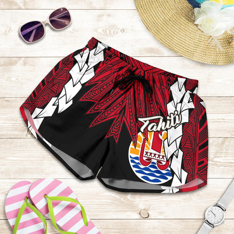 Image of Tahiti Polynesian Women's Shorts - Tribal Wave Tattoo Flag Style - BN12
