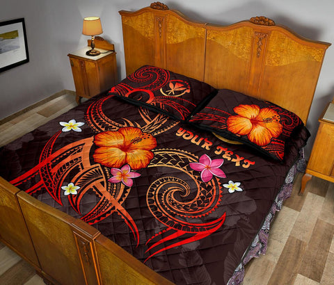 Polynesian Hawaii Personalised Quilt Bed Set - Legend of Kanaka Maoli (Red)