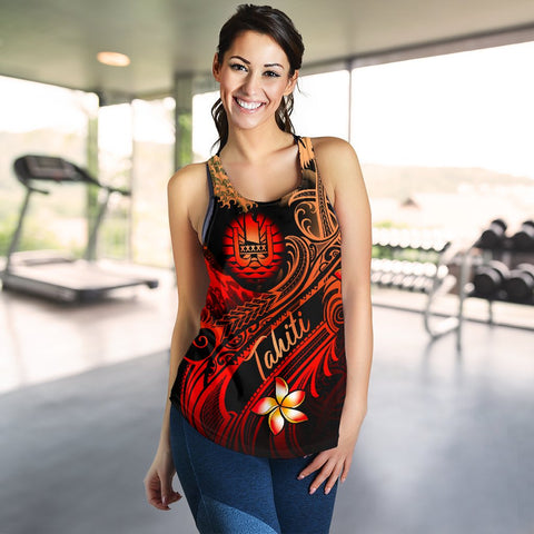 Tahiti Polynesian Women's Racerback Tank - Plumeria Flowers And Waves - BN12