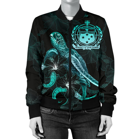 Image of Samoa Polynesian Women's Bomber Jacket - Turtle With Blooming Hibiscus Turquoise