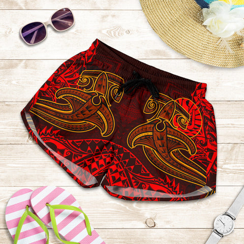 Image of Tahiti Women's Shorts - Red Shark Polynesian Tattoo