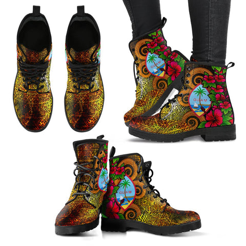 Guam Polynesian Leather Boots - Hibiscus Vintage - BN12