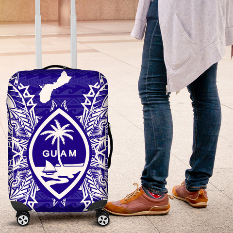 Guam Polynesian Luggage Covers Map Blue - BN39