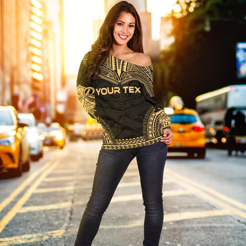Tahiti Polynesian Chief Custom Personalised Women's Off Shoulder Sweater - Gold Version - Bn10