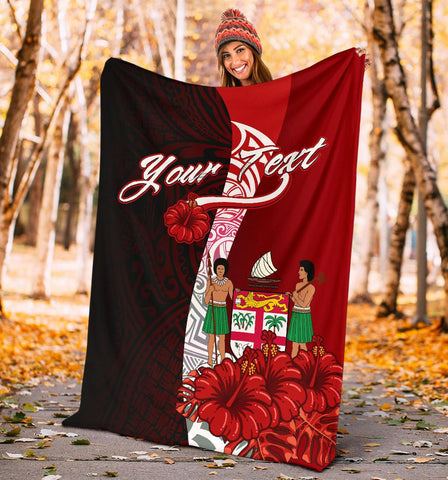 Fiji Polynesian Custom Personalised Premium Blanket - Coat Of Arm With Hibiscus - BN12
