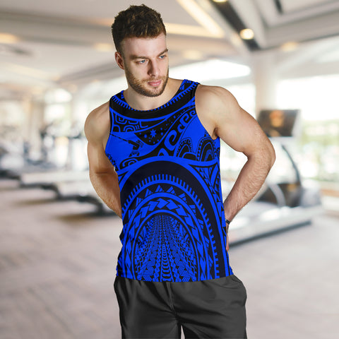 Polynesian Men's Tank Top, Maui Tattoo Polynesian Patterns (Blue) - BN17