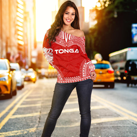 Tonga Flag Polynesian Chief Women's Off Shoulder Sweater - Bn10