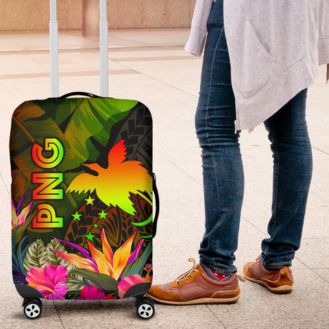 Papua New Guinea Polynesian Luggage Covers -  Hibiscus and Banana Leaves
