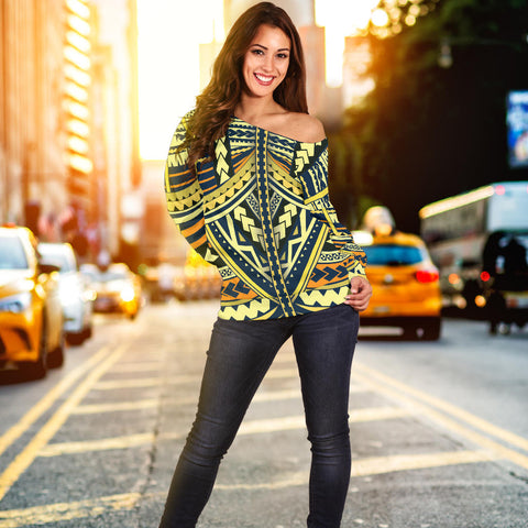 Image of Polynesian Tattoo Off Shoulder Sweater - BN11