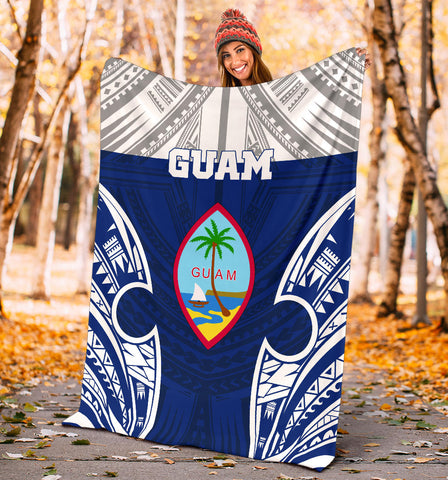 Guam Polynesian Premium Blanket - Pattern With Seal Blue Version - BN12