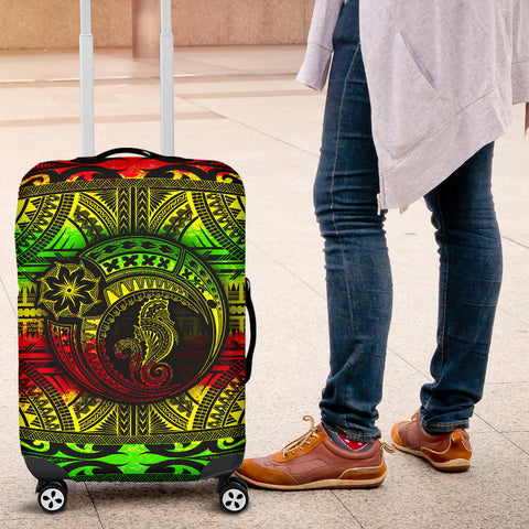 Image of Seahorse Polynesian Luggage Cover - Polynesian Tattoo Reggae