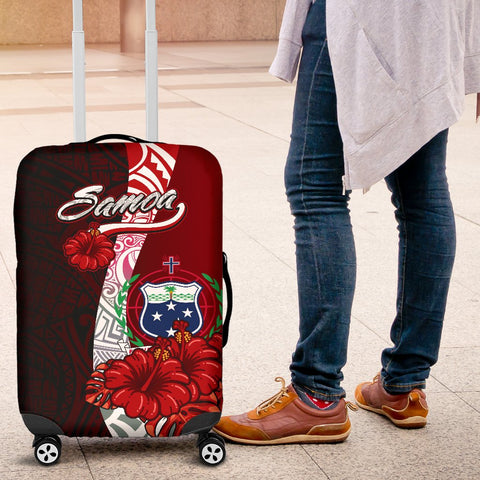 Samoa Polynesian Luggage Covers - Coat Of Arm With Hibiscus - BN12