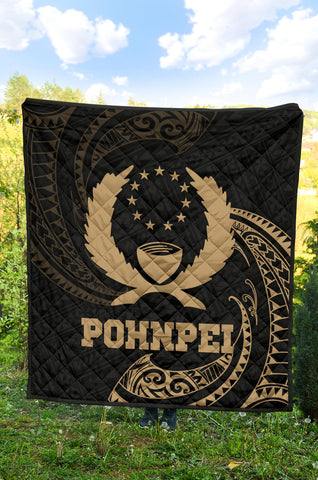 Image of Pohnpei Micronesia Premium Quilt - Gold Tribal Wave - BN12