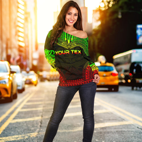 Image of Guam Polynesian Chief Custom Personalised Women's Off Shoulder Sweater - Reggae Version - Bn10