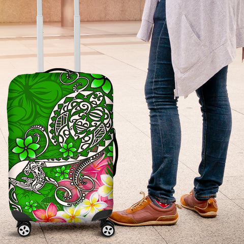 Image of Polynesian Luggage Covers - Turtle Plumeria Green Color - BN18
