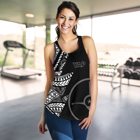 Yap Women's Racerback Tank - Micronesian Pattern Flash Black - BN39