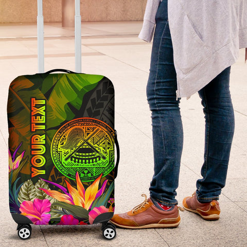 American Samoa Polynesian Personalised Luggage Covers -  Hibiscus and Banana Leaves