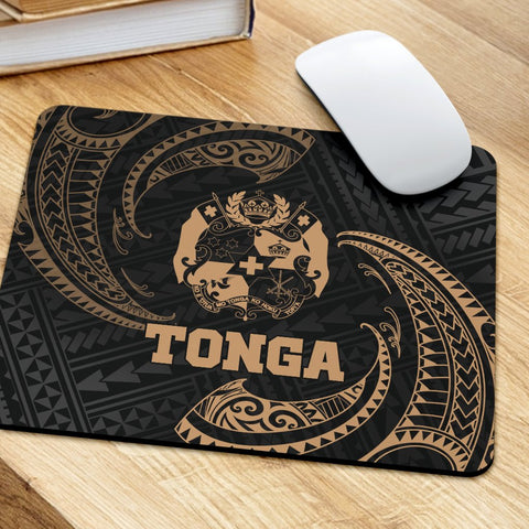 Tonga Polynesian Mouse Pad - Gold Tribal Wave - BN12