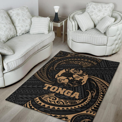 Tonga Polynesian Area Rug - Gold Tribal Wave - BN12