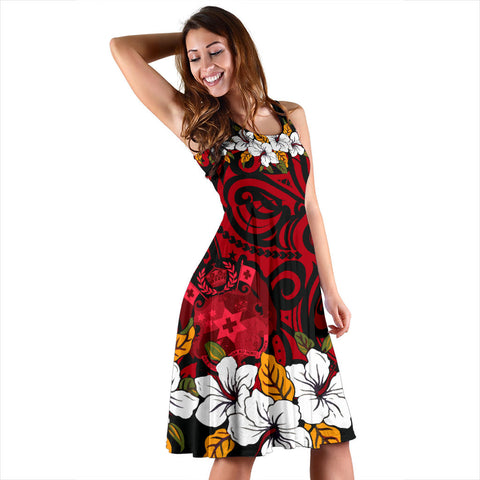 Tonga Midi Dress - Red Hibiscus - BN11