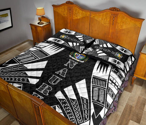 Nauru Polynesian Quilt Bed Set - Black Tattoo Style - BN0112