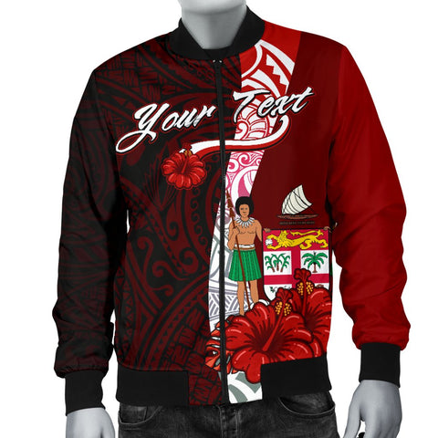 Fiji Polynesian Custom Personalised Men's Bomber Jacket - Coat Of Arm With Hibiscus - BN12