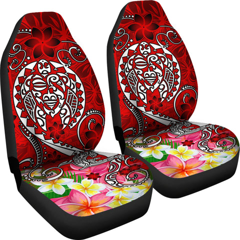 Polynesian Car Seat Covers - Turtle Plumeria Red Color - BN18