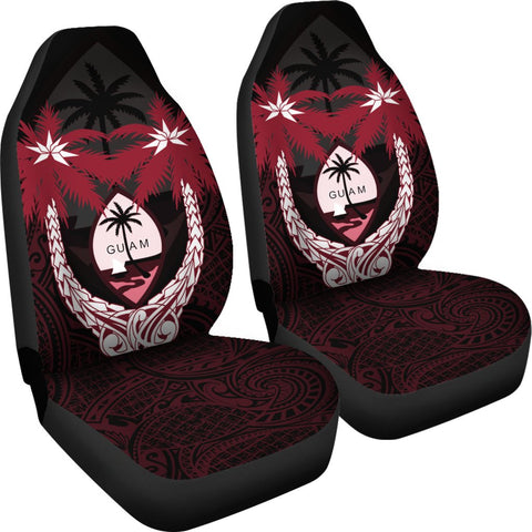 Image of Guam Micronesian Niyok Car Seat Covers - Guam Coat Of Arms Coconut Tree (Set of 2) - A02 1ST