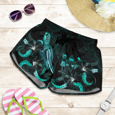Image of Fiji Polynesian Women's Shorts - Turtle With Blooming Hibiscus Turquoise