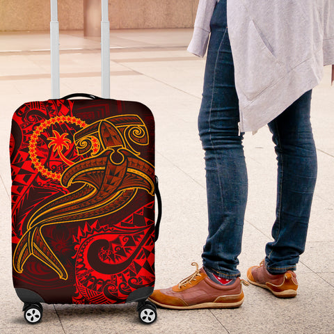Chuuk Luggage Covers - Red Shark Polynesian Tattoo