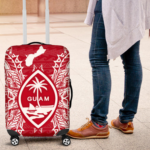 Guam Polynesian Luggage Covers Map Red White - BN39