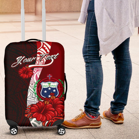 Image of Samoa Polynesian Custom Personalised Luggage Covers - Coat Of Arm With Hibiscus - BN12