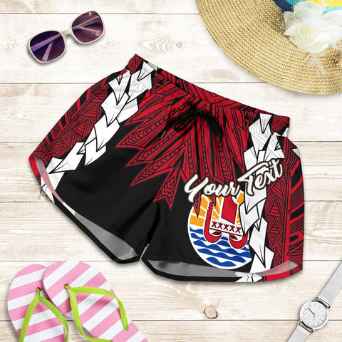 Image of Tahiti Polynesian Custom Personalised Women's Shorts - Tribal Wave Tattoo Flag Style - BN12