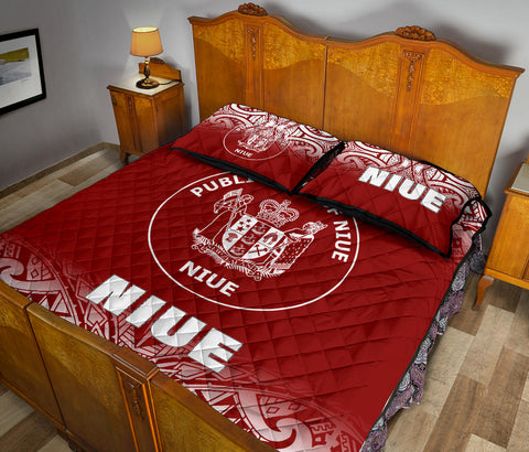 Image of Niue Polynesian Quilt Bed Set - Fog Red Style - BN12
