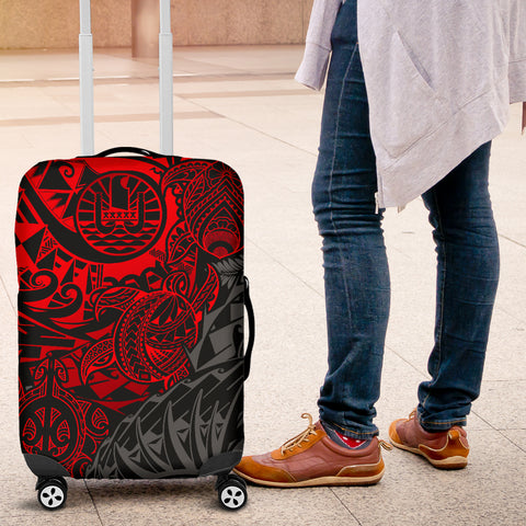 Tahiti Polynesian Luggage Cover - Red Turtle Hibiscus Flowing - BN11